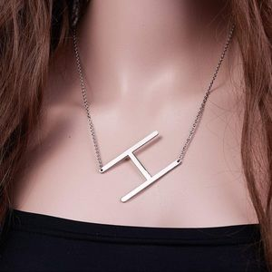 Silver Initial Stainless Steel Pendant Necklace